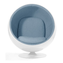 Aeon's In Stock Modern Classic Collection - Circle  Lounge Chair in White Gloss Fiberglass Shell, Aluminum Base with Light Blue Fabric Upholstery.