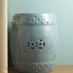 Turquoise Shagreen Stool - Without endangering any species, this hand painted Shagreen stool has intricate details with its shark skin like texture. For use as spare seating or a side table, the understated turquoise sheen catches the eye and draws you in.