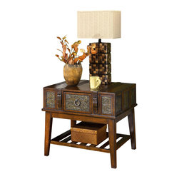 Signature Design by Ashley - Wood End Table w Brown Finish & Slatted Lower - This end table has a rectangular top and storage drawer, allowing you plenty of space for storage and display. Pair with coordinating items to create an intriguing set or use alone as an accent. Features a durable and  long lasting construction along with a dark brown finish. Color/Finish: Dark Brown. Exotic campaign styling. Inset stamped metal elements. Buckled belts add decoration. End and sofa tables have drawers. 30 in. W x 26 in. L x 26 in. H