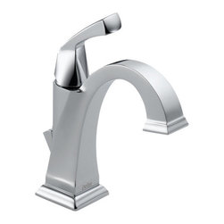 "Delta - Delta 551-DST Chrome Dryden Dryden Single Hole Bathroom Faucet with - Product Features:    Made in the U.S.A. (Manufacturing plants: Greensburg, Indiana; Jackson, Tennessee)Fully covered under Delta s limited lifetime warranty  All-brass faucet construction  Superior finishing process - faucet finish covered under lifetime warranty  The clean geometric lines of the Dryden Collection are reminiscent of the Art Deco period of the 1920 s and 30 s  The Dryden collection offers a full complement of coordinating products to create the perfect look  Single handle operation  Includes cover plate (escutcheon) for sinks with 3-holes (4"" centers)  ADA compliant  Low lead compliant - complies with federal and state regulations for lead content  Designed to easily connect to standard U.S. plumbing supply bibs  Extra secure mounting assembly  All necessary mounting hardware included    Product Technologies:    Diamond Seal: Delta Diamond Seal Technology utilizes a ceramic disc valve with a real diamond coating to produce a faucet that will last up to 5 million uses. That s an amazing 10 times the industry standard, guaranteeing a lifetime of leak-free, trouble-free performance.  Watersense Certified Product: Through a number of technologies and innovations, Delta's Watersense faucets achieve the impossible: A faucet that feels like more water, while actually conserving water. There are many advantages to this beyond helping protect our nation's water resources. First, Delta's Watersense faucets splash less; you won't have to wipe your counters as much. Second, they use less hot water, preserving your hot water supply and reducing associated water-heating costs. Third, you will feel a little less guilty leaving the water running for longer periods.    Product Specifications:"