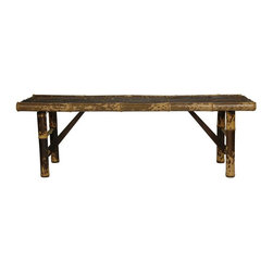 Oriental Unlimited - 4 ft. Wide Japanese Folding Leg Bamboo Bench - The Japanese style folding leg bamboo benches can be used as either a medium length bench or a long length coffee table. Unique, beautiful and practical. Great as a bench or a coffee table. Bamboo is an eco-friendly, fast growing building material. Almost as hard as oak and as light as balsa wood. Bamboo is an extremely abundant, sustainable, and eco-friendly. Bamboo is almost as hard as oak, lasts almost as long, and is much lighter in weight, and hence has a much smaller carbon foot print. Convenient folding legs for easy shipping and relocation. Shipped with the convenient folding legs down. Hand crafted from kiln dried, high quality whole bamboo. Choose either the light, beached stain, or  the dark, more natural look finish. Shown in dark stained design. Minimal assembly required. 14.1 in. L x 47.25 in. W x 15.75 in. H