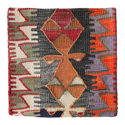 Original Hand Woven Turkish Kilim - Gradient Antique Kilim Pillow Cover - Hand Woven from an Antique Turkish Kilim Carpet, this pillow cover has a Wool front and cotton back with Zipper entry.  Please note:  pillow insert not included.