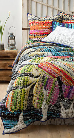 Gila Quilt - Get a little ethnic and colorful at the same time! If you like a more casual look to your bedroom, this brightly colored ensemble will be just the answer. Since it is a quilt, it will always look neat on the bed. Plus, it comes with a bed skirt, so if you only have a headboard, this is a wonderful way to dress up your bedroom.