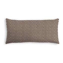Brown Knit Chevron Custom Lumbar Pillow - The perfect solo statement on a modern chair or bed, the rectangular lines of the Simple Lumbar Pillow are effortlessly chic. We love it in this brown and ivory chunky handwoven chevron cotton knit. Perfect for adding luxurious texture and modern flare to any room.