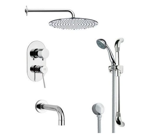 Remer - Contemporary Chrome Tub and Shower Faucet with Handheld Shower - Multi function tub and shower faucet.