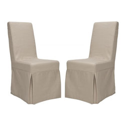 Safavieh - Tungston Dining Chair (Set of 2) - Designed for maximum drama when placed around a table, the Tungston Dining chair in ecru cotton is brimming with dressmaker details, from self-welting to front kick pleats and an inverted back pleat that's neatly closed with four pretty bows. Equally striking in living room or bedroom, Tungston is crafted with birch wood legs in cherry mahogany finish.