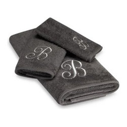 Avanti - Avanti Premier Silver Script Monogram Bath Towels in Graphite - Classic and sophisticated, these monogrammed towels will add that subtle personal touch to your bathroom decor. Script letter is embroidered with great detail over an incredibly soft towel.