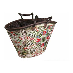 Moroccan Casablanca Tote - Handmade chic Moroccan basket crafted of gorgeous embroidery on top of woven strips of date palm leaves and trimmed in leather with leather handles. It is sturdy and firmly executed to last for long life.