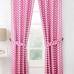 None - 'Layla' 84-inch Polka Dot Curtain Panel Pair with Tiebacks - Give your child's bedroom the charm of a candy shop by hanging these fun curtain panels. A bright pink background is scattered with white polka dots for a festive feel. Slip the rod pocket panels right on any equally delightful curtain rod.