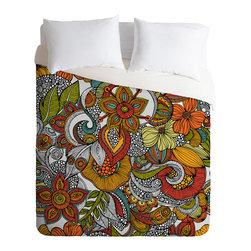 Valentina Ramos Ava Queen Duvet Cover - Do you dream in color? You certainly will once you bedeck your bed with this lush graphic garden. Bonus: It's solid white on the flip side to suit a set of printed sheets.