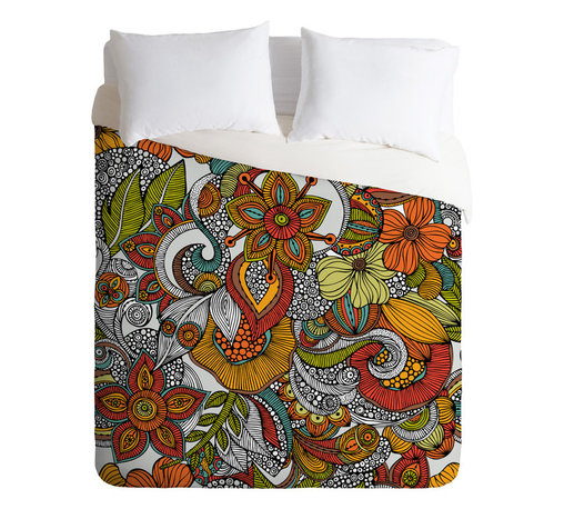 DENY Designs - Valentina Ramos Ava Queen Duvet Cover - Do you dream in color? You certainly will once you bedeck your bed with this lush graphic garden. Bonus: It's solid white on the flip side to suit a set of printed sheets.