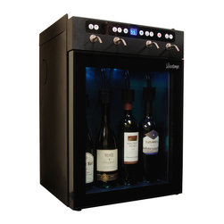 4-Bottle Wine Dispenser - Vinotemp's state-of-the-art 4 Bottle Wine Dispenser easily dispenses, preserves and chills four bottles of red or white wine. With easy push button controls, you can pour a perfect glass of wine at the touch of a button. Our 4 Bottle Wine Dispenser is an outstanding gift item for any wine aficionado and a great way for restaurants and wine bars to serve and preserve open bottles of wine.