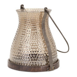 IMAX - Corbis Glass Lantern - Reminiscent of vintage hobnail glass pieces, this pair of glass lanterns with metal handles add candlelight and warmth to any setting.