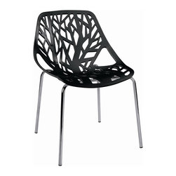 """Hampton Modern - Tree Cutout Dining Chair, Black Plastic - With a sophisticated cut-out of a forest on its durable plastic seat, this chair adds a beautiful shadow to any wall it is placed near. Seat Height 16""""."""