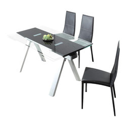 Creative Furniture - Primo 7 Pcs White Dining Set (Table and 6 Chairs) - Creative Furniture - This Primo Dining Set by Creative Furniture is modern and fashionable. Just for your new updated dining room. It doet need any special place or decoration, it is just good looking and functional. The Table has a glass top and steel legs and the chairs are covered with grain leather. This is the decision, that you were looking for. Creative Furniture  it is a strong combination of style and quality.    7 Pcs Dining Set includes Table and 6 Chairs    Dimensions: