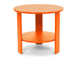Loll Designs - Lollygagger Side Table Round, Sunset Orange - The Lollygagger Side Table has that futuristic retro feeling. When you're settling back in the Lollygagger Lounge or Sofa, this table is a splendid companion to hold your favorite beverage or a book when you need to close your eyes for a minute. The lower shelf is a nice spot to keep things free from morning dew or a light rain. No Lollygagger lounge would be complete without this functional little member of the family.