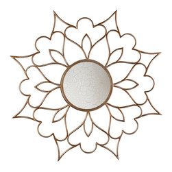 "SEI - Decorative Mirror - Petal - Liven up any room with this attractive floral accent mirror. The lovely, oversized frame and bronze finish will add style and depth to any wall to truly complete a room. This accent mirror features a breathtaking flower design and a rubbed bronze finish. The round mirror surface is 9.5"" in diameter and has a stunning, crackled finish. Hang this delightful mirror in the family room, bedroom, or entryway for an added touch of style. The floral design and bronze finish work well with virtually any decor."