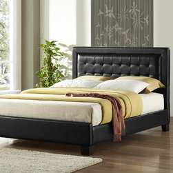 Woodbridge Home Designs - Landon Platform Bed - Features: -Black bicast vinyl bed has the flexibility.-Border framing the well tailored channel tufted headboard makes this a versatile addition.-Landon Collection.-Distressed: No.-Powder Coated Finish: No.-Gloss Finish: No.-Finish: Dark brown.-Frame Material: Wood; Manufactured wood -Frame Material Details: Rubber wood and MDF..-Solid Wood Construction: No.-Upholstered: No.-Number of Items Included: 3.-Non Toxic: Yes.-Scratch Resistant: No.-Joinery Type: Groove.-Mattress Included: No.-Recommended Mattress Height: 8.-Box Spring Required: Yes -Boxspring Included: No.-Recommended Boxspring Height: 6.-Boxspring Profile Maximum: 8.-Boxspring Profile Minimum: 6..-Headboard Storage: No.-Footboard Storage: No.-Underbed Storage: No.-Mattress Profile Maximum: 6.-Mattress Profile Minimum: 6.-Combined Mattress and Boxspring Maximum Height: 6.-Slats Required: Yes -Number of Slats Required: 3.-Slats Included: Yes..-Center Support Legs: Yes.-Adjustable Headboard Height: Yes.-Adjustable Footboard Height: No.-Wingback: No.-Trundle Bed Included: No.-Attached Nightstand: No.-Cable Management: No.-Built in Outlets: No.-Lighted Headboard: No.-Finished Back: No.-Reclaimed Wood: No.-Number of Center Support Legs: 2.-Bed Rails Included: Yes.-Collection: Landon.-Eco-Friendly: Yes.-Recycled Content: Yes -Total Recycled Content (Percentage): 90%.-Post-Consumer Content (Percentage): 20%.-Remanufactured/Refurbished : No..-Wood Moldings: No.-Canopy Frame: No.-Hidden Storage: No.-Jewelry Compartment: No.-Weight Capacity: 550.-Swatch Available: No.-Commercial Use: No.Specifications: -FSC Certified: No.-EPP Compliant: Yes.-CPSIA or CPSC Compliant: No.-CARB Compliant: Yes.-JPMA Certified: No.-ASTM Certified: No.-ISTA 3A Certified: No.-PEFC Certified: No.-General Conformity Certificate: No.-Green Guard Certified : No.Dimensions: -Overall Height - Top to Bottom (Size: California King): 46.-Overall Width - Side to Side (Size: California King): 76.-Overal