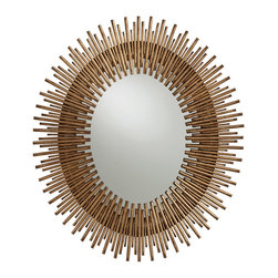 Prescott Small Antiqued Gold Leaf Oval Mirror - Thin iron rays are arranged as a smaller version of the classic starburst design, boasting elevated polish and pizzazz from the abundant level of detail and craftsmanship apparent in the oval mirror. The overall effect reads like an oversized Art Deco brooch on the wall, radiating positive energy and high style in every direction.