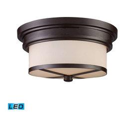 Elk Lighting - Elk Lighting 15025/2-LED Flushmount Transitional Flush Mount Ceiling Light - Elk Lighting 15025/2-LED Flushmount Transitional Flush Mount Ceiling Light in Oiled Bronze
