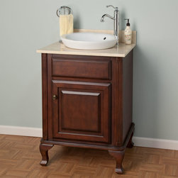 """24"""" Mercia Dark Cherry Vanity for Semi-Recessed Sink - The Antique Brass hardware and rich Dark Cherry finish of this bathroom vanity perfectly complement a traditional decor. The spacious lower cabinet provides plenty of storage room for towels and toiletries."""