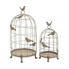 "Benzara - Birdcage Set of 2 in Classic Mix of Elegance and Grandiose - Birdcage Set of 2 in Classic Mix of Elegance and Grandiose. Jazz up home decor with this attractively detailed metal Birdcage. It comes with following dimensions 12""W x 12""D x 24""H. 9""W x 9""D x 17""H."