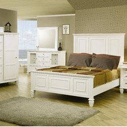 Wildon Home � - Glenmore Panel Bed - Give your bedroom a classic and elegant style with this headboard and footboard bed. The ultra high headboard and low profile footboard keep the piece in balance, with sophisticated paneled details for a classic look. Square turned feet are a perfect finishing touch. Crafted of tropical hardwoods and veneers, this bed is available in White to complement your decor. Features: -Contemporary style.-Classic molding, clean lines, square tapered feet.-Smooth tops with simple classic molding edge.-Box spring required.-Constructed of tropical hardwoods and veneers.-Distressed: No.-Collection: Glenmore.Dimensions: -Overall Product Weight: 152.07 lbs.