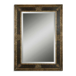 Uttermost - Uttermost Cadence Small Antique Gold Mirror 11207 B - This solid wood frame has a burnished wood tone finish with antiqued gold leaf inner and outer edges. Mirror is beveled. May be hung either horizontal or vertical.