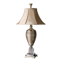 Uttermost - Uttermost 26738 Textured Porcelain Lamp with Crystal Base from the Abriella Coll - Uttermost 26738 Carolyn Kinder Abriella LampMetallic gold finish over textured porcelain with polished chrome metal and crystal accents. The round bell shade is a silkened golden champagne textile.Features: