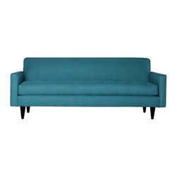Apt2B - Monroe Sofa, Ocean Blue - With a Mad Men-esque silhouette, The Monroe is a perfect way to add a hip factor to any room. The clean lines and simple shape make it perfect for any small space. It packs a big punch without taking up a lot of square footage. Each piece is expertly handmade to order in the USA and takes around 2-3 weeks in production. Features a solid hardwood frame and upholstered in a 100% polyester fabric.