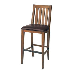 Home Styles - Home Styles Arts and Crafts Distressed Oak Bar Stool Multicolor - 5900-89 - Shop for Stools from Hayneedle.com! Food cocktails conversation relaxation - all can be enjoyed from the Home Styles Arts and Crafts Distressed Oak Bar Stool. Add this casual yet elegant wood bar stool to your kitchen dining area or home bar for a cozy spot to enjoy a casual meal morning coffee or refreshing cocktail. You can sit comfortably on this stool since it has a supportive backrest metal footrest and cushioned seat upholstered in brown vinyl. Boasting a timeless Arts and Crafts-inspired design this stool features clean simple lines and a series of vertical slats on the backrest. The warm rich distressed oak finish brings out the beauty of the durable Asian hardwood construction. About Home StylesHome Styles is a manufacturer and distributor of RTA (ready to assemble) furniture perfectly suited to today's lifestyles. Blending attractive design with modern functionality their furniture collections span many styles from timeless traditional to cutting-edge contemporary. The great difference between Home Styles and many other RTA furniture manufacturers is that Home Styles pieces feature hardwood construction and quality hardware that stand up to years of use. When shopping for convenient durable items for the home look to Home Styles. You'll appreciate the value.