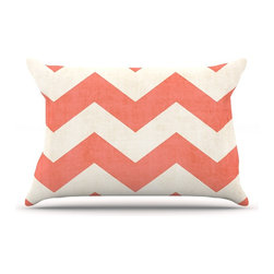 "Kess InHouse - Ann Barnes ""Vintage Coral"" Orange Chevron Pillow Case, King (36"" x 20"") - This pillowcase, is just as bunny soft as the Kess InHouse duvet. It's made of microfiber velvety fleece. This machine washable fleece pillow case is the perfect accent to any duvet. Be your Bed's Curator."