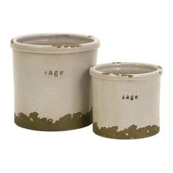 Sage Herb Pots - Set of 2 - Perfectly sized, this set of two sage herb pots is made of red clay and kiln fired to perfection. Finished in a white crackle glaze, rough edges are purposely exposed to add character.