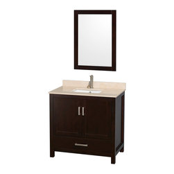 """Wyndham Collection - Sheffield 36"""" Espresso Single Vanity, Ivory Marble Top & Undermount Square Sink - Distinctive styling and elegant lines come together to form a complete range of modern classics in the Sheffield Bathroom Vanity collection. Inspired by well established American standards and crafted without compromise, these vanities are designed to complement any decor, from traditional to minimalist modern. Available in multiple sizes and finishes."""