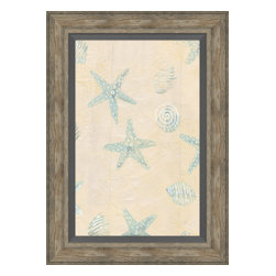 Soicher-Marin - Sea Stars & Shells D - Giclee print with a traditonal rustic distressed grey wooden frame with a grey linen liner.  Includes glass, eyes and wire. Made in the USA. Wipe down with damp cloth