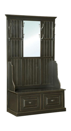 Chelsea Home Furniture - Chelsea Home John Hall Tree with Mirror - 8 hooks - If you need a place to hang your hat, look no further than the John Hall Tree with Mirror. This 78-inch tall garment rack, shown in Black, comes complete with inlayed mirror and 8 hooks for hanging hats, coats or other outerwear. Two paneled base drawers allow for shoe storage or other daily essentials. Chelsea Home Furniture proudly offers handcrafted American made heirloom quality furniture, custom made for you. What makes heirloom quality furniture? It's knowing how to turn a house into a home. It's clean lines, ingenuity and impeccable construction derived from solid woods, not veneers or printed finishes over composites or wood products _ the best nature has to offer. It's creating memories. It's ensuring the furniture you buy today will still be the same 100 years from now! Every piece of furniture in our collection is built by expert furniture artisans with a standard of superiority that is unmatched by mass-produced composite materials imported from Asia or produced domestically. This rare standard is evident through our use of the finest materials available, such as locally grown hardwoods of many varieties, and pine, which make our products durable and long lasting. Many pieces are signed by the craftsman that produces them, as these artisans are proud of the work they do! These American made pieces are built with mastery, using mortise-and-tenon joints that have been used by woodworkers for thousands of years. In addition, our craftsmen use tongue-in-groove construction, and screws instead of nails during assembly and dovetailing _both painstaking techniques that are hard to come by in today's marketplace. And with a wide array of stains available, you can create an original piece of furniture that not only matches your living space, but your personality. So adorn your home with a piece of furniture that will be future history, an investment that will last a lifetime.