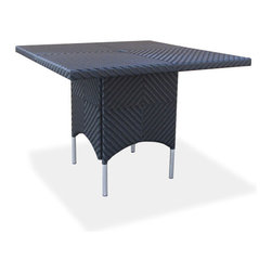 Westminster Teak Furniture - Valencia All Weather Wicker Square Dining Table - Part of the Valencia Collection, this all beautifully woven all-weather wicker dining table will fit gracefully both indoors or out; in your dining space, loggia or balcony. Made of durable extruded polyethylene  on  powder coated high performance aluminum frame, the furniture is lightweight yet sturdy enough to withstand the rigors of everyday use and the extremities  of outdoor weather including temperature fluctuations , UV exposure from sunlight, mold, and mildew. The fibers used  have been specifically engineered to replicate not only the look and feel of natural rattan and wicker  but its robust characteristics makes for easy care.