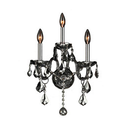 "Worldwide Lighting - Provence 3 Light Chrome Finish and Smoke Crystal 13"" Candle Wall Sconce Light - This stunning 3-light wall sconce only uses the best quality material and workmanship ensuring a beautiful heirloom quality piece. Featuring a radiant chrome finish and finely cut premium grade smoke (translucent gray) colored crystals with a lead content of 30%, this elegant wall sconce will give any room sparkle and glamour. Worldwide Lighting Corporation is a privately owned manufacturer of high quality crystal chandeliers, pendants, surface mounts, sconces and custom decorative lighting products for the residential, hospitality and commercial building markets. Our high quality crystals meet all standards of perfection, possessing lead oxide of 30% that is above industry standards and can be seen in prestigious homes, hotels, restaurants, casinos, and churches across the country. Our mission is to enhance your lighting needs with exceptional quality fixtures at a reasonable price."