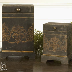 Melani, Boxes, S/2 - These boxes are made of plantation grown mango wood with the aged black and gold hand painting.