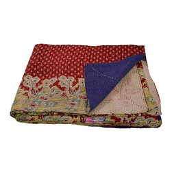 Modelli Creations - Vintage Kantha Sari Throw in Red and Blue - Beautiful kantha throw made of repurposed saris from India in red and blue.