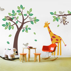 Tree with Monkeys Giraffe Birds Decal - The is the deluxe version of our very popular Tree with Monkeys. It is paired with a branch and set of birds. As a finishing touch we've also included a super cute giraffe! The cute and cuddly monkeys will always put a smile on your child's face. Each animal and leaf are separate decals and can be placed anywhere you wish, so be creative!