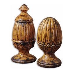 "19296 Asita Yellow, Finials, Set/2 by Uttermost - Get 10% discount on your first order. Coupon code: ""houzz"". Order today."