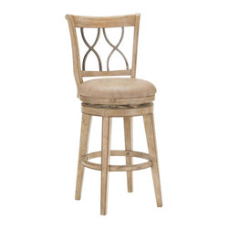 Hillsdale Furniture - Hillsdale Reydon Swivel Bar Stool in White Wash - The Hillsdale Reydon stool is truly unique with a touch of rustic charm. A light weathered white wash finish compliments the distressed look and metal accents. The seat is covered in a putty hued, leather like fabric. Available in either bar or counter height. Both heights feature a 360 degree swivel seat. Assembly required.