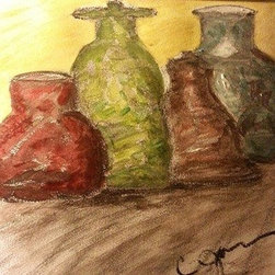 """Still Life Bottles"" (Original) By Cynthia Jackson - Different Colored Water Colored & Charcoal  Bottles On Display"