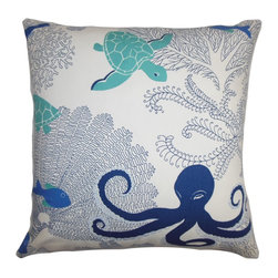 """The Pillow Collection - Ondine Coastal Pillow Blue White - This summer it's time to bring out some fun decor pieces for your living space. This accent pillow is the perfect statement piece to finish off your living room's style. Sea creatures in bright shades of blue adorn the white background. This square pillow lends a refreshing vibe to your interiors. Place this 18"""" pillow on top of your bed, couch or toss it anywhere inside your home. Made of 100% plush cotton fabric. Hidden zipper closure for easy cover removal.  Knife edge finish on all four sides.  Reversible pillow with the same fabric on the back side.  Spot cleaning suggested."""