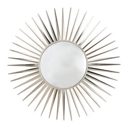 Kathy Kuo Home - Astro Modern Convex Nickel Starburst Iron Mirror - If the Jetsons were French, this would be hanging on their space age walls.  'Georges' would love to come to this, and so will any lover of graphic, space aged style which has a traditional point of reference.  Magnifique.