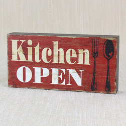 Young's - 'Kitchen Open/Closed' Reversible Box Sign - The vintage vibe of this unique box sign makes it a simple yet chic addition to an antique-inspired interior. Its quaint message assimilates easily into any carefully curated living space.   8'' W x 4'' H x 1.25'' D Wood Ready to hang Imported