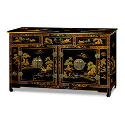 "China Furniture and Arts - Chinoiserie Scenery Design Sideboard - Chinoiserie motifs of blossoming trees, idyllic landscapes and noble personages are skillfully hand-painted on raised gesso over this uniquely elongated chest. Perfect for dining or living room or bedroom. The polished cast-brass pulls and decorative hinges are symmetrically fitted reflecting the Chinese ideal of unity. Three drawers measuring 14.75""W x 13.75""W x 2.5""H are ideal for your treasured collectibles. The lower compartments with dimensions 22.5""W x 16""D x 18.75""H contain one removable shelf behind each set of doors for your storage convenience. Matte finish."