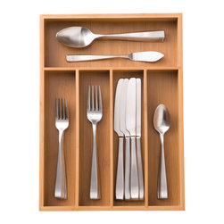 Seville - Seville Classics Medium Bamboo Cutlery Tray - Keep your utensils in order with this beautiful bamboo cutlery tray. Fashioned from sustainable hardwood, this light-brown organizer fits in most standard drawers and has five compartments, perfect for spoons, knives, forks and more.