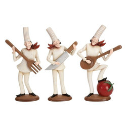 Benzara - Polystone Chef - Set of 3 - If you are planning to entertain the guests in special way to impress them with your hosting style, have a look over 69342 POLYSTONE CHEF Set of 3 Assorted. This artistically designed designer class table decor items come as set of three beautifully sculptured pieces with round stable base. Each chef has different cooking, serving and cutlery item.